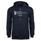 Navy Fleece Full Zip Hoodie-Academics