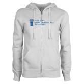ENZA Ladies White Fleece Full Zip Hoodie-American Intercontinental University