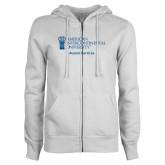 ENZA Ladies White Fleece Full Zip Hoodie-Alumni Services