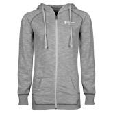 ENZA Ladies Grey/Black Marled Full Zip Hoodie-Academics