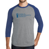 Grey/Royal Heather Tri Blend Baseball Raglan-American Intercontinental University