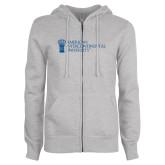 ENZA Ladies Grey Fleece Full Zip Hoodie-American Intercontinental University