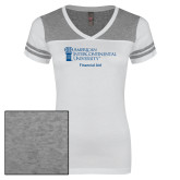Ladies White/Heathered Grey Juniors Varsity V Neck Tee-Financial Aid