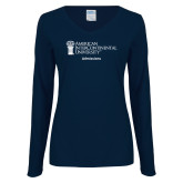 Ladies Navy Long Sleeve V Neck Tee-Admissions