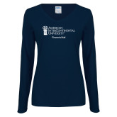 Ladies Navy Long Sleeve V Neck Tee-Financial Aid