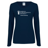 Ladies Navy Long Sleeve V Neck Tee-Student Advising