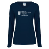 Ladies Navy Long Sleeve V Neck Tee-Career Services