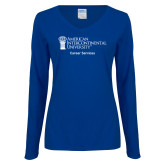 Ladies Royal Long Sleeve V Neck Tee-Career Services
