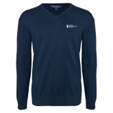 Classic Mens V Neck Navy Sweater-American Intercontinental University