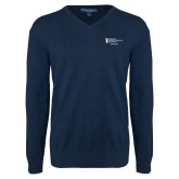 Classic Mens V Neck Navy Sweater-Financial Aid