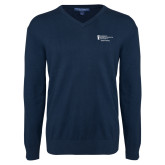 Classic Mens V Neck Navy Sweater-Student Advising