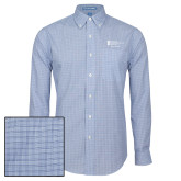 Mens Navy Plaid Pattern Long Sleeve Shirt-Alumni Services