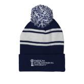 Navy/White Two Tone Knit Pom Beanie w/Cuff-American Intercontinental University