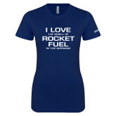 Next Level Ladies SoftStyle Junior Fitted Navy Tee-I Love The Smell Of Rocket Fuel In The Morning