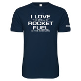 Next Level SoftStyle Navy T Shirt-I Love The Smell Of Rocket Fuel In The Morning