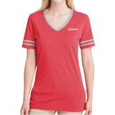 Ladies Red Heather/Grey Tri Blend Varsity Tee-Primary Mark