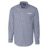 Cutter & Buck Navy Stretch Gingham Long Sleeve Shirt-Primary Mark