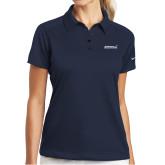 Ladies Nike Dri Fit Navy Pebble Texture Sport Shirt-Primary Mark