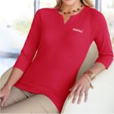 Ladies V Notch Red 3/4 Sleeve Shirt-Primary Mark