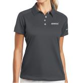 Ladies Nike Dri Fit Charcoal Pebble Texture Sport Shirt-Primary Mark