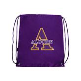 Nylon Purple Drawstring Backpack-Alcorn Official Logo