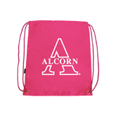 Alcorn Pink Drawstring Backpack-Alcorn Official Logo