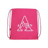 Nylon Pink Drawstring Backpack-Alcorn Official Logo