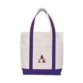 Contender White/Purple Canvas Tote-Alcorn Official Logo