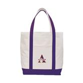 Contender White/Purple Canvas Tote-Alcorn Official Logo