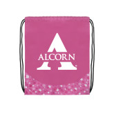 Nylon Pink Bubble Patterned Drawstring Backpack-Alcorn A