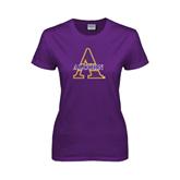 Ladies Purple T Shirt-Alcorn Official Logo