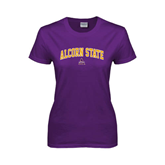 Ladies Purple T Shirt-Arched Alcorn State