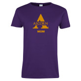 Ladies Purple T Shirt-Alcorn Mom