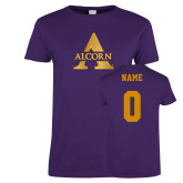 Ladies Purple T Shirt-Alcorn A, Custom Tee w/ Name and #