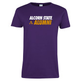 Ladies Purple T Shirt-Alcorn State Alumni