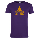 Ladies Purple T Shirt-Distressed Logo