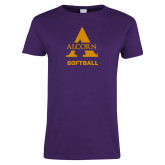 Ladies Purple T Shirt-Alcorn Softball