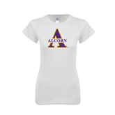 Next Level Ladies SoftStyle Junior Fitted White Tee-Alcorn Official Logo