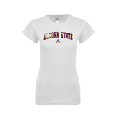 Next Level Ladies SoftStyle Junior Fitted White Tee-Arched Alcorn State