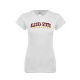 Next Level Ladies SoftStyle Junior Fitted White Tee-Arched Alcorn State University