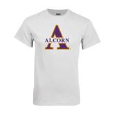White T Shirt-Alcorn Official Logo