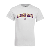 White T Shirt-Arched Alcorn State