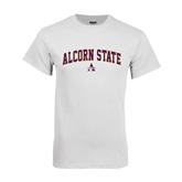 Alcorn White T Shirt-Arched Alcorn State