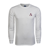 White Long Sleeve T Shirt-Alcorn Official Logo