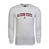 White Long Sleeve T Shirt-Arched Alcorn State