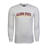 White Long Sleeve T Shirt-Arched Alcorn State University