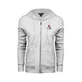ENZA Ladies White Fleece Full Zip Hoodie-Alcorn Official Logo