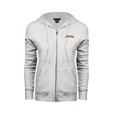 ENZA Ladies White Fleece Full Zip Hoodie-Arched Alcorn State University