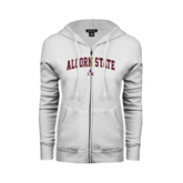 ENZA Ladies White Fleece Full Zip Hoodie-Arched Alcorn State