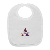 White Baby Bib-Alcorn Official Logo